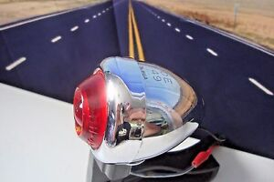 DH-49 Harley Bullet Signal Lamp Guide Red Fish Eye Lens Pan Knucklehead 49-69 A3