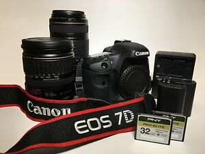 Canon EOS 7D 18.0 MP Digital SLR Camera -(Kit w EF IS 28-135mIS USM 70-300 mm)