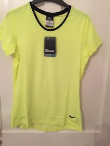 Neon Yellow Nike Pro Dry-Fit Hyper Cool Ladies Work Out Medium  T-Shirt Only £25