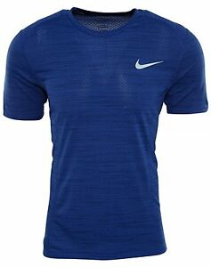 Nike Dry Miler Running Top Mens 718348-452 Paramount Blue Dri-Fit Shirt Size L