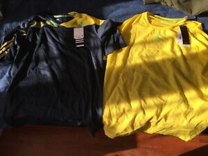 Mens Medium Adidas Shirt Yellow Sports Quick Dry Fitness Athletic Shirt X2