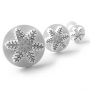 3 PC Snowflake Fondant and Decorating Impression Cutters Plungers from Bakell $5.89