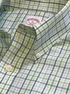 BROOKS BROTHERS Mens DRESS SPORT M Shirt ALL COTTON Green Check Button Down