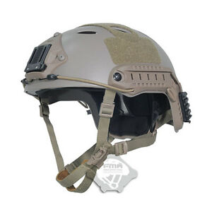 Tactical Airsoft Adjustable Fast Helmet PJ NVG TB389 DE Mount for Paintball