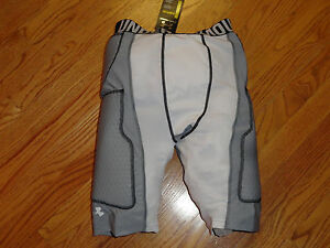 Mens M UA Under Armour MPZ Padded Compression Shorts Football Basketball Gray