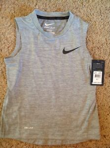 NIKE dry DRI-FIT gray MUSCLE shirt sleeveless BOYS 7 NWT $20