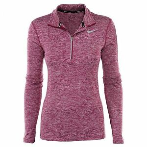 Nike Dry Element Womens 685910-665 Berry Dri-Fit Running Top LS Shirt Size L