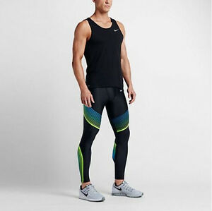 Nike Power Speed Running Compression Tights Black Green 717750-016 Men's Size XL
