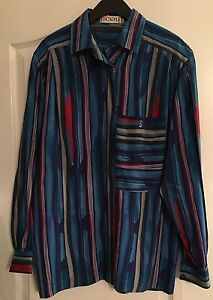 Women's Designer ESCADA Long Sleeve Multi-Color Blouse 100% Silk Size 40 US 10