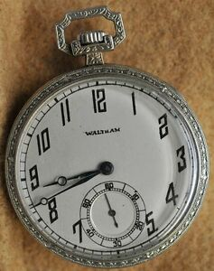 Antique Waltham white gold filled filigree pocket watch