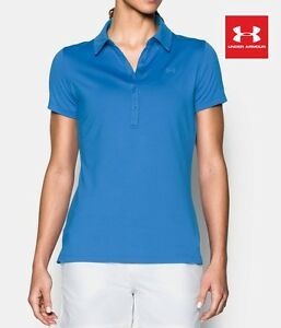 Under Armour Women's size Large Zinger Golf Polo Shirt in Mediterranean Blue NWT