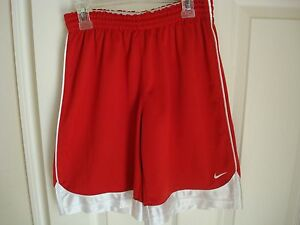 BOYS NIKE FIT DRY RED SOCCER SHORTS SZ M(10-12) NO POCKETS