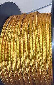 Gold Rayon Cloth Covered FLAT Electrical Wire BULK FT Lamp Cord Antique Pendant