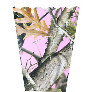 HUNTING AND FISHING Pink Camo FAVOR BOXES 8 Birthday Party Supplies Treat