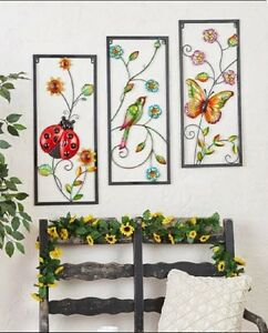 Colorful Metal Wall Sculptures Color Filled Panel Critter Print Ready 2 Hang Art $18.98