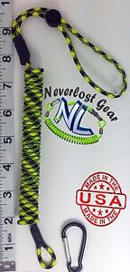 Small Kayak Rod Leash Paddle Tool Leash. Xtends over 4 FT Aftermath NEVERLOST