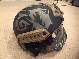 Custom Painted FAST Helmet with Goggles and Painted Lower Mesh Mask