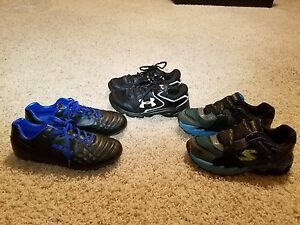 Lot of 3 Pair Under Armour Sketchers Boys Running Shoe Size 4Y
