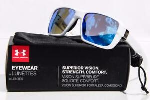 NEW UNDER ARMOUR RECON SUNGLASSES White  Blue Multiflection lens MSRP $100