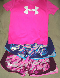 NWOT Lot of Girls Under Armour 2 Colorful YL Shorts & YM Pink Top