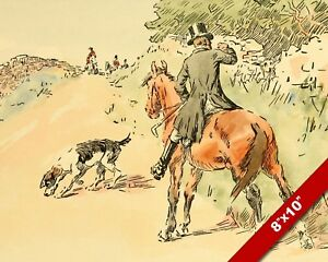 CAUGHT THE SCENT HUNTING DOG FOX HUNT ANIMAL ART PAINTING PRINT REAL CANVAS