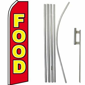 Food Red Yellow Swooper Feather Super Flag & 16ft Flagpole Kit / Ground Spike