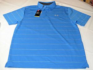 Under Armour UA HeatGear Golf UPF 30 Loose Polo shirt Mens L blue 467 1253479