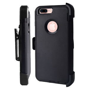 Defender BLACK Case Cover w Screen Protector Built Belt Clip For iPhone 7 Plus