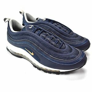 NWT Nike Air Max 97 Navy Gold White Bullet Men's Sneakers DS 2017 10 AUTHENTIC