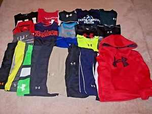 Under Armour Boys Lot Of 24 Shirts Hoodie And Shorts Size Youth Small