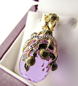 STUNNING HANDMADE OF SOLID STERLING SILVER 925 AND 24K GOLD AMETHYST EGG PENDANT