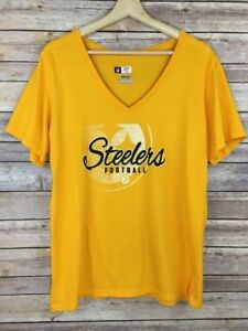 Women's Steelers Football Yellow NFL Team V Neck Short Sleeve Shirt Top Size XXL