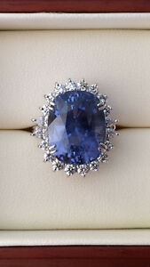 GRS 21.21 ct UNHEATED VS2 Blue Sapphire Diamond PLATINUM Ring RARE gift! BEAUTY!