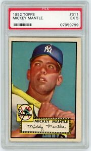 Mickey Mantle 1952 Topps Baseball Rookie Card #311 - PSA Graded EX 5