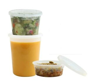 Deli Food Storage Containers Clear Round Plastic Cups with Lids - Pack of 36