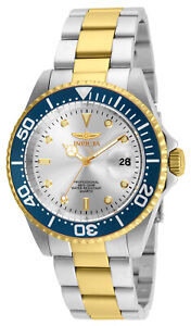 Invicta 24951 Men's Pro Diver Silver Dial Two Tone Yellow Gold Steel Bracelet Di