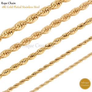 18K Gold Plated Stainless Steel Rope Chain Necklace Bracelet Men Women 2mm-8mm