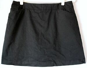 NIKE GOLF Fit Dry Black Chino Skort Sport- Skirt with Shorts - Womens Size 12