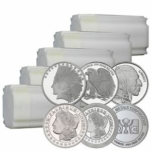 Lot of 100 1 oz New Silver Rounds  In Original Mint Tubes Direct From Mint