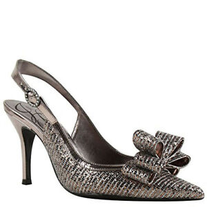 J. Renee Womens Charise SlingbackTaupe Glitter FabricUS 9 M Sale TAX FREE