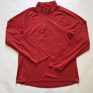 NIKE Men's Red Athletic FIT-DRY LS Active Pullover 14 Zip Shirt Size Med