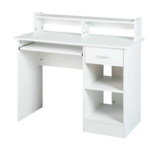 White computer Desk Small Office Desk Work Table with Keyboard Tray and Drawer