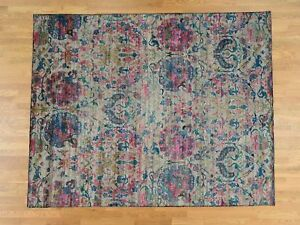 8'x10' Hand-Knotted Sari Silk with Hunting Design Oriental Rug R37514