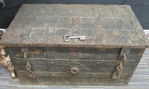 Armada Chest 17th Century Iron bound Metal  Large Antique Original trunk