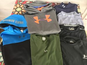 BOY'S LOT OF UNDER ARMOUR HOODIES AND TOPS - SIZE 18-20 XL - 7 TOTAL