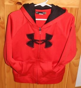 Under Armour Boys Toddler 4T zip up hoodie sweatshirt EUC red and black