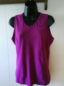 Nike Fit Dry Womens LARGE Tank Top Shirt Purple V Neck