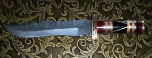 Vintage Antique BEAUTIFUL DAMASCUS BLADE BOWIE KNIFE