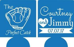 Baseball Wedding koozies no minimums the perfect catch can cooler quick ship