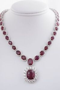 Luxury 52.66CTW Natural Oval Ruby & Diamond Pendant Necklace 18k White Gold